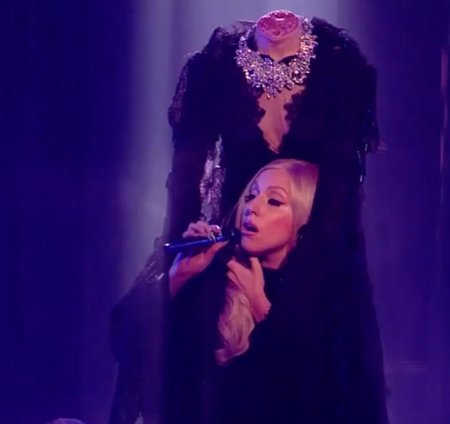 Lady Gaga performed headless on X-Factor UK.