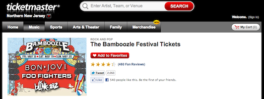 Ticketmaster leaked the 2012 Bamboozle lineup.
