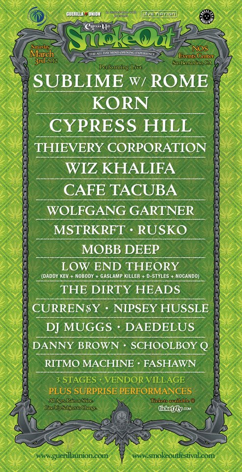 Cypress Hill Smokeout - complete lineup